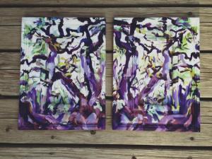 Purple Oil Paintings on wood panels in symmetry