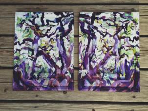 Purple Oil Paintings on wood panels in symmetry
